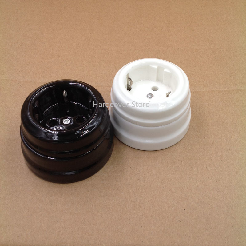 2pcs High Quality European Ceramic <font><b>Socket</b></font> 16A EU Wall Outlet <font><b>Pop</b></font> <font><b>Socket</b></font> <font><b>Black</b></font> and <font><b>White</b></font> image