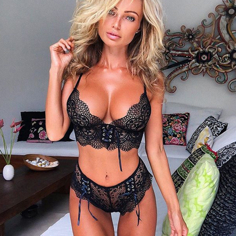 Sexy Hot Women's Lace Lingerie Babydoll Black Pink Underwear Lace Bra Set Erotic Hollow Out Bandage Briefs Underwear Set