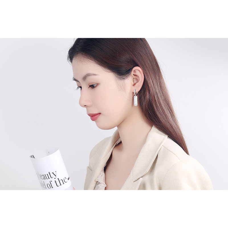 Купить с кэшбэком Party Card Tassels Circle Earring Fashion Jewelry Female Temperament Rectangle English Alphabet Hoops Earrings Ear Clip Buckle