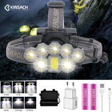 Super bright headlights 2*T6+5*Q5+1*COB LED Head Lamp USB rechargeable Waterproof camping headlamp Flashlight use 18650 Battery portable zooming xml t6 led headlamp waterproof zoom fishing headlights camping hiking flashlight with usb cable