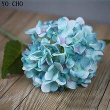 Yo cho 1 peça de ramos de flores artificiais, flor falsa de seda, decoração de jardim doméstico faça você mesmo, hortência falsa flore de flor