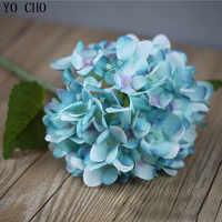 YO CHO 1Pc Big Artificial Hydrangea Flowers Branch Silk Fake Flore Wedding Table DIY Home Garden Decoration Fake Hydrangea Flore