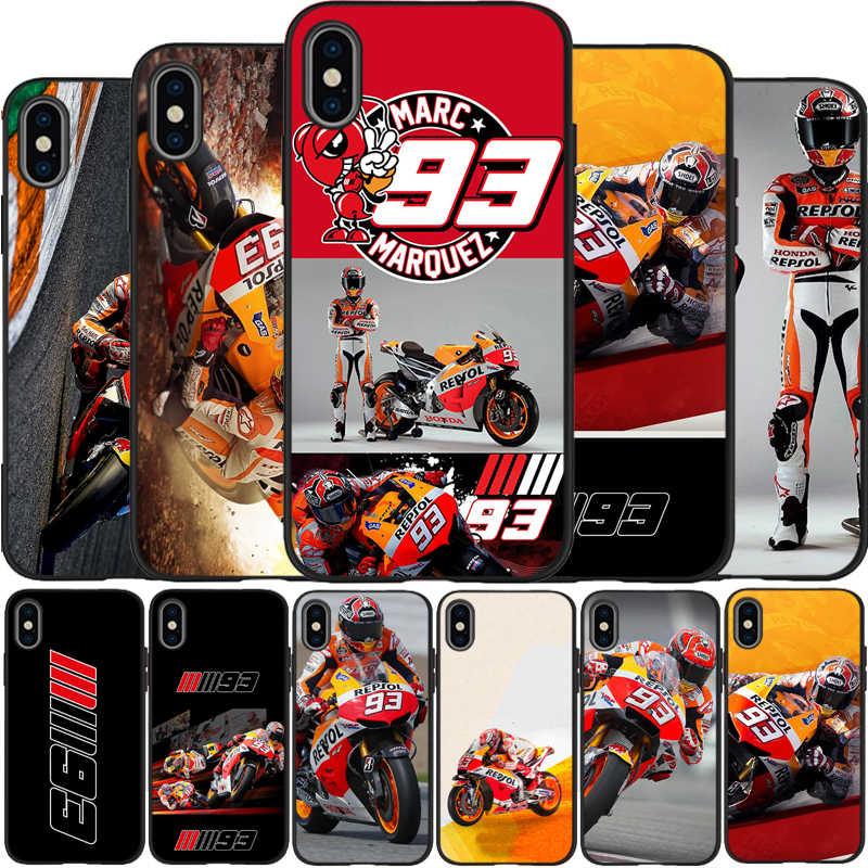 2018 2019 Marc MARQUEZ MOTO GP 93 Bao Da Silicone Mềm Đen Ốp Lưng Điện Thoại Iphone 5 5S SE 6 plus 7 8 Plus X XR XS Max 11 Pro Max