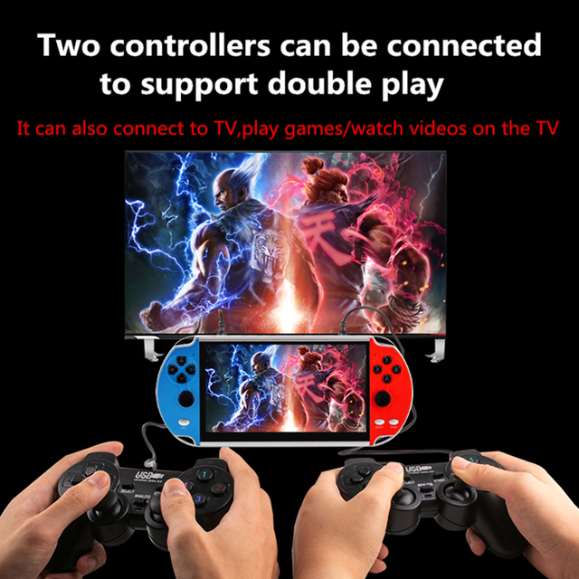 CZT 7-inch Colorful double player game console built-in 9900 games support arcade/neogeo/gbc/snes/fc/md multi-emulator mp3/mp4 2