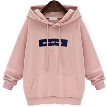 Plus Size Hoodies Sweatshirt 2019 Women Fashion Letter Printed Casual Pullover Hoodies Female Autumn Winter Tracksuit Hoody Pink