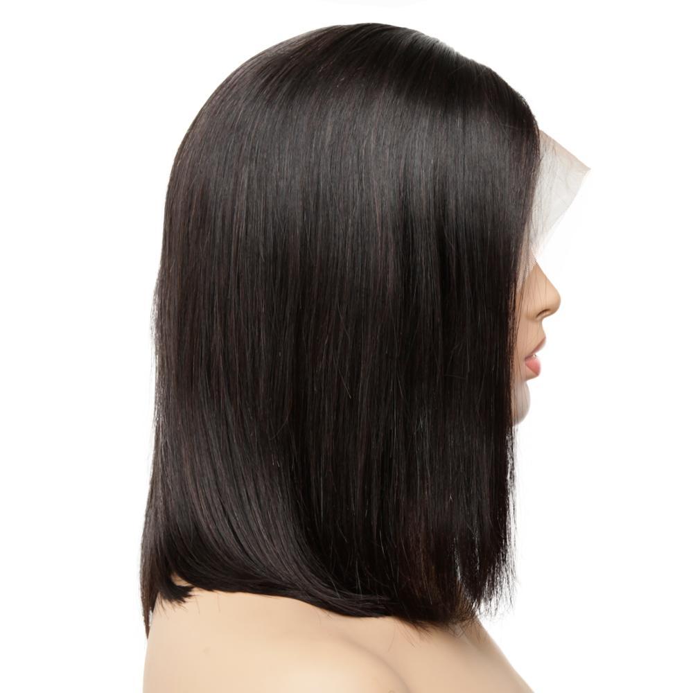 13x4 perruque avant en dentelle préplumée Remy droite courte perruque Bob avec des cheveux de bébé vrais perruques de cheveux humains pour les femmes noires sans colle coudre dans