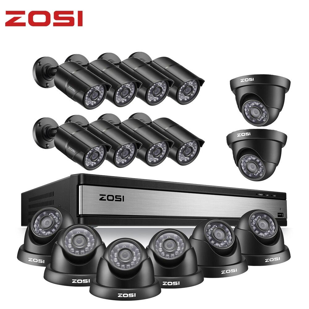 ZOSI Full HD 1080P 16 cámara CCTV ch sistema de seguridad en exterior/interior con 16 Uds cámara Video vigilancia DVR Kit