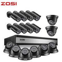 ZOSI Full HD 1080P 16 cámara CCTV ch sistema de seguridad en exterior/interior con 16 Uds cámara de Video vigilancia DVR Kit