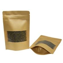 50pcs/lot 9x14cm Brown Stand Up Grip Seal Craft Paper Dried Food Nuts Snacks Package Bag Zip Lock Kraft Clear Window