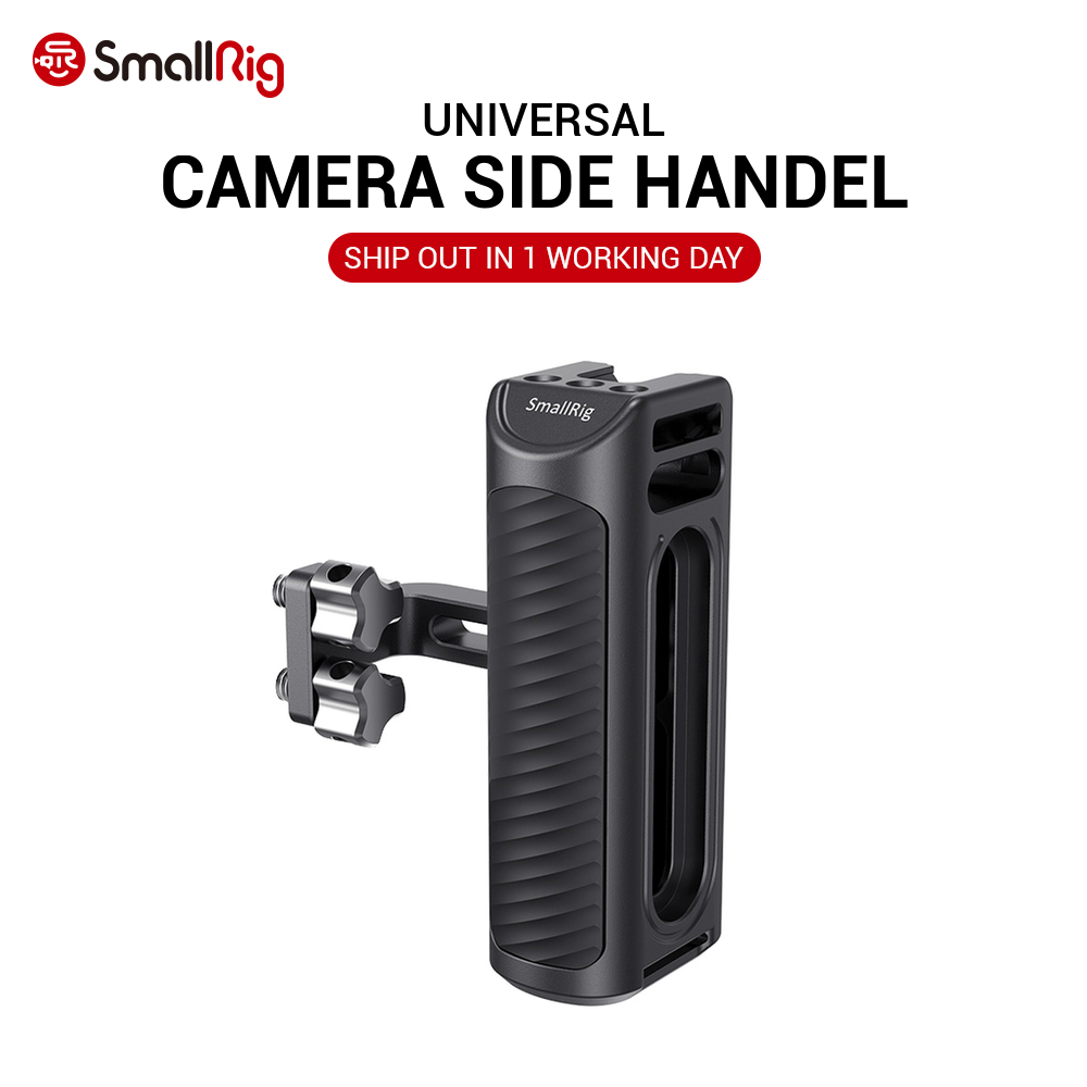 SmallRig DSLR Camera Hand Grip Aluminum Universal Side Handle W  Mounting holes  amp  cold shoe fr Microphone DIY Options 2425