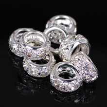 1 Row Gold Silver Round Beads Crystal Glass Rhinestones Bead Big hole Beads Spacer Murano Czech Bead Charm Fit For Bracelet e18k gold alloy beads dolphin shap diy big hole beads spacer murano bead charm fit for pandora bracelet charms 50