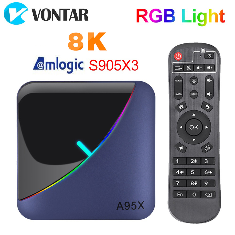 2020 A95X F3 8K RGB Licht TV Box Amlogic S905X3 Android 9,0 4GB RAM 64GB Plex media server Wifi 4K Netflix Youtube Media Player
