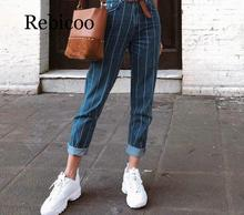Sexy striped jeans pants fashion zip pocket blue jeans casual slim slimming pants 2019