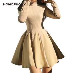 Homophony женское платье с высоким воротом с длинным рукавом осень зима лоскутное ТРАПЕЦИЕВИДНОЕ милое платье размера плюс облегающее платье м...