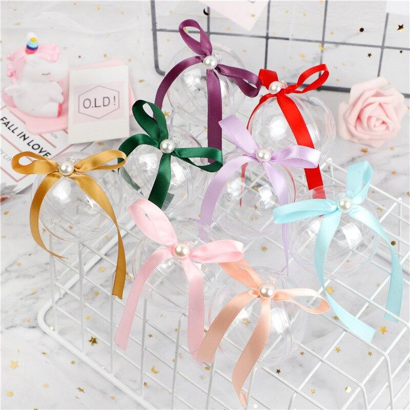 50 pièces transparent en plastique rond boîte cadeau bonbons chocolat cadeau boîte fête anniversaire décoration boule en plastique