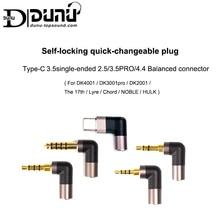 DUNU autobloccante Quick modificabile spina TYPE C 3.5 a terminazione singola 2.5/3.5pro/4.4 connettore bilanciato per Android USB C Phone
