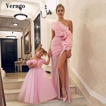 Verngo Pink One Shoulder Long Mother and Daughter Prom Dresses Ruffles Pleats Tulle Side Slit Evening Gowns Formal Party Dress