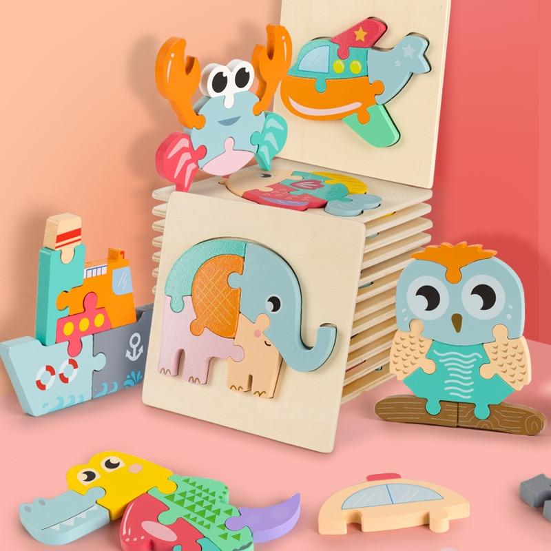 Новые детские игрушки 3D Деревянный пазл Обучающие игрушки Раннее Обучение познание Детские Мультяшные животные трафик схватывание интелл...