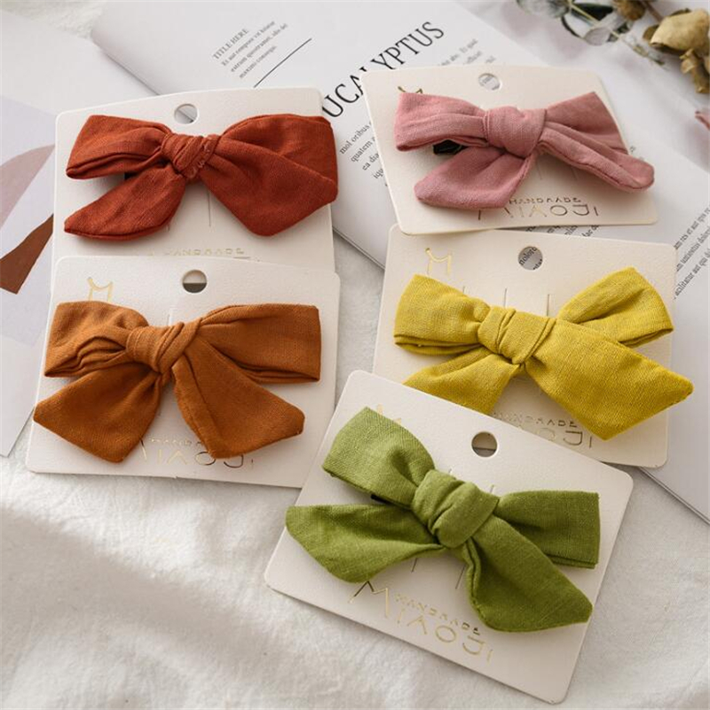 2019 New Lovely Baby Girls Solid Color Bow BB Hair Clips Hair Accessories Kids Cute Cross Cotton Hairgrips Hairpins Headwear
