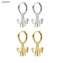 Kikichicc 925 Sterling Silver Gold Bee Honey Drop Earring Gold Circle Dangle Charm Women Luxury Animal Fashiom Jewelry