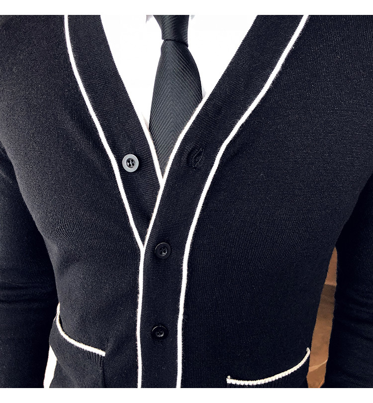 Fashion Spelling Color Sweater Cardigan Type Male Knitting Loose Coat Black Herren Pullover Winter Autumn Jersey Navidad Hombre