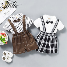 ZAFILLE New Boys Gentleman Outfits Set Cotton Baby Boy Clothes Summer 2Pcs Shirt With Bow Tie+Plaid Short Kids Clothes Boys Sets casual summer gentleman style kids boys clothing sets cotton sling strap costume shirt short jeans boys clothes suits