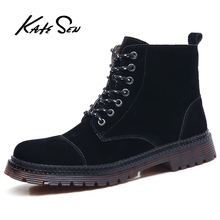 KATESEN new men boots fashion Martin ankle mens leather suede quality warm non-slip motorcycle