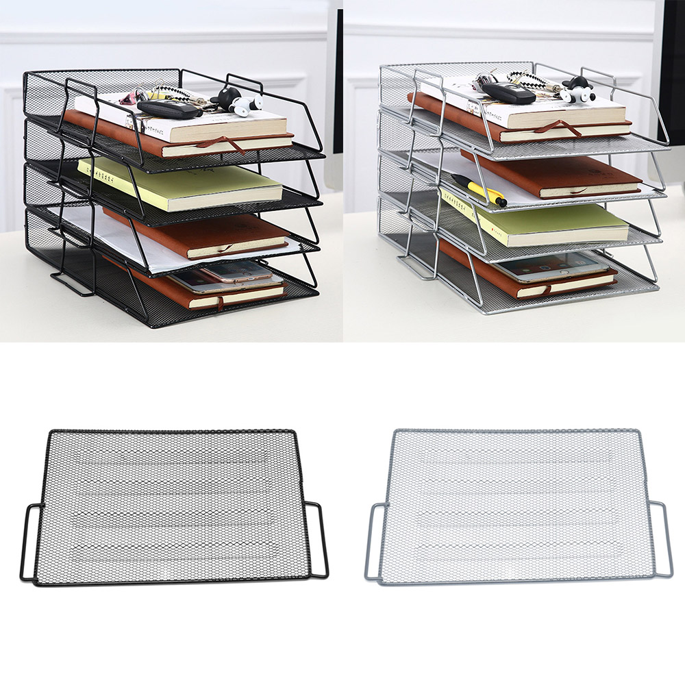 Stackable Paper Tray Metal Mesh Desktop File Organizer Storage Basket Holder For Home Office Document File Letter Book Magazine
