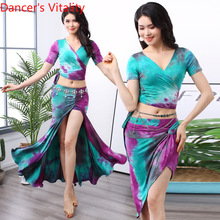 Belly Dance Costume Women's Exercise Clothes 2019 Summer New Suit Sexy Color Cotton Skirt Women's Performance Costumes