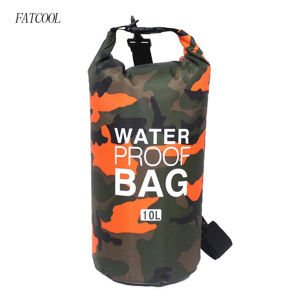 2/5/10L Outdoor Lightweight Camouflage Waterproof Portable Rafting Diving Dry Bag Sack Swimming Bags For River Trekking Drifting