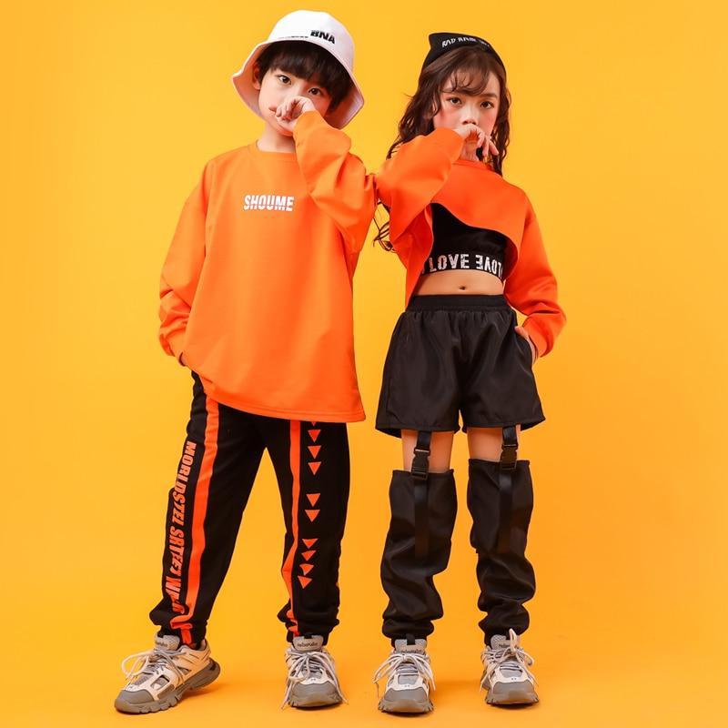Kid Cool Hip Hop Clothing Sweatshirt Shirt Top Crop Hollow Causal Pants For Girl Jazz Ballroom Dance Costume Clothes Wear
