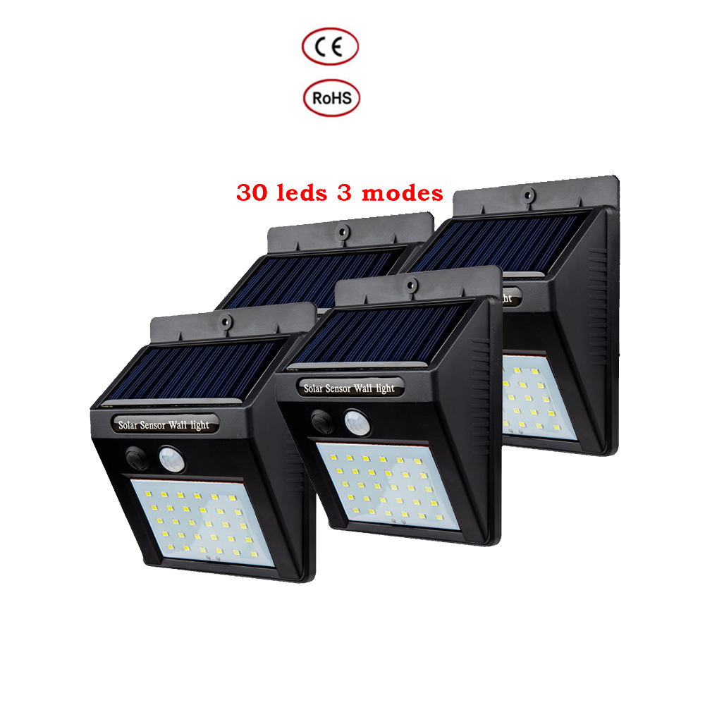 2/4PCS 100/30 LEDS Radar Sensor Led Solar Lamp Night Light Motion Detector Smart ON/OFF Energy Saving Outdoor Emergency Lighting