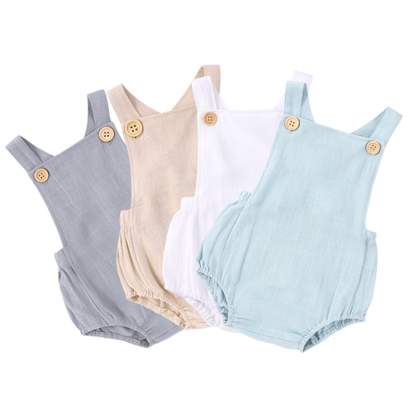 2020 Summer Girl Cotton and Linen Suspenders Briefs Baby One- piece Robe Solid Color Sports Jumpsuit Toddler Girl Clothes
