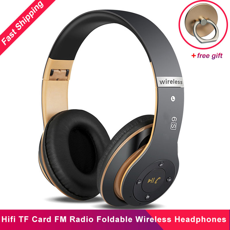 New 6S Foldable Wireless Headphones Hifi Casque Audio Fone De Ouvido Bluetooth Stereo Noise reduction TF Card FM Radio Headsets