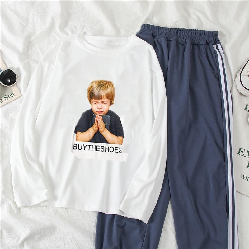 2032 # [Photo Shoot] Autumn & Winter Casual Sports WOMEN'S Suit Two-Piece Set Long-sleeved T-shirt WOMEN'S Ninth Pants