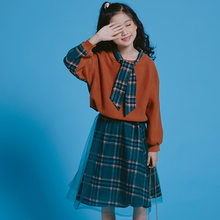 2019 Teenager Children Girls Clothing Sets Fashion Autumn Clothes Patchwork Cotton Sweater + Casual Skirt for 6 8 10 12 14 Year(China)