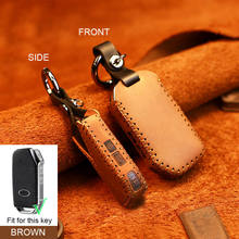 Leather Car Remote Smart Key Cover Case For Kia Sportage Ceed Sorento Cerato Forte 2017 2018 2019 3 buttons Auto part