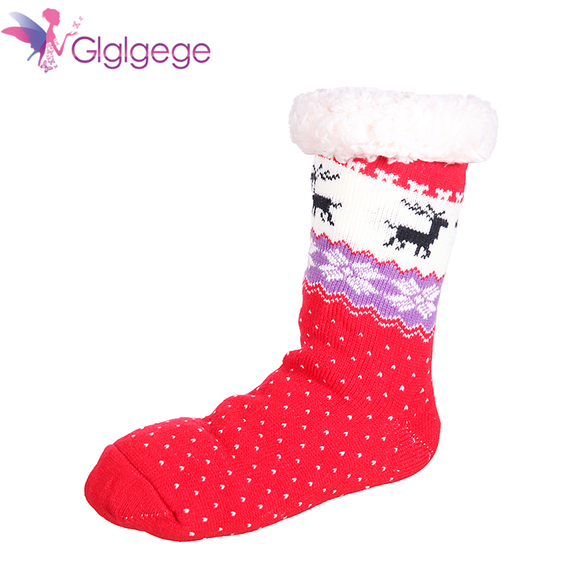 Promo Glglgege2019 Hot Winter Slippers Women socks Home Warm Plush House Shoes Print Knitted Fluffy Slippers 6 Color