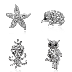 Crystal Rhinestone Animal Brooch Lovely Owl Starfish Hedgehog Octopus Clothes Pin Women Jewelry Alloy Brooch