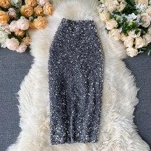 Skirt Fitaylor Spring Bodycon Sexy Mid-Length Elegant High-Waist Women Jupe Sequins Shinny