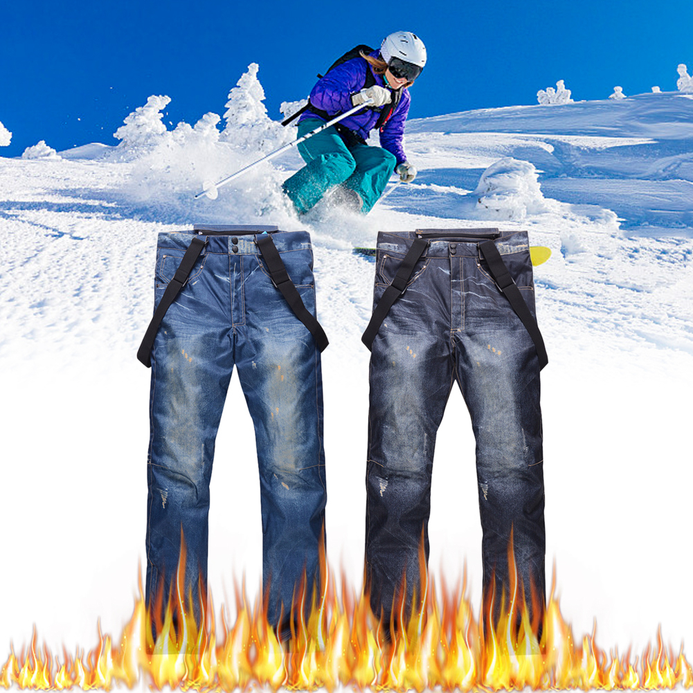 Ski Pants Men/Women Outdoor High Quality Windproof Waterproof Warm Couple Snow Trousers Winter Snowboard Suspenders Jeans