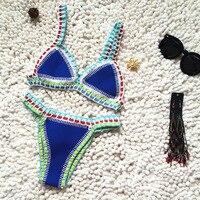 Micro Bikini 2021 Women Handmade Crochet Knit Swimwear Halter Patchwork Bathing Suit Swimsuit Biquini Thong Bikini traje de bano 2
