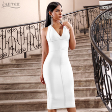 ADYCE 2020 חדש קיץ נשים Bodycon תחבושת שמלה סקסי הלטר V צוואר ללא משענת Midi מועדון מסלול סלבריטאים ערב מסיבת שמלות
