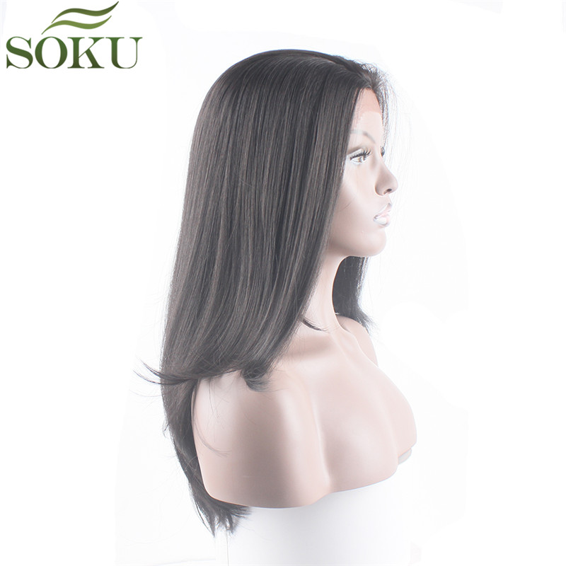 SOKU Synthetic-Wigs Baby-Hair Brown Lace-Front Black-Women Ombre Heat-Resistant Glueless