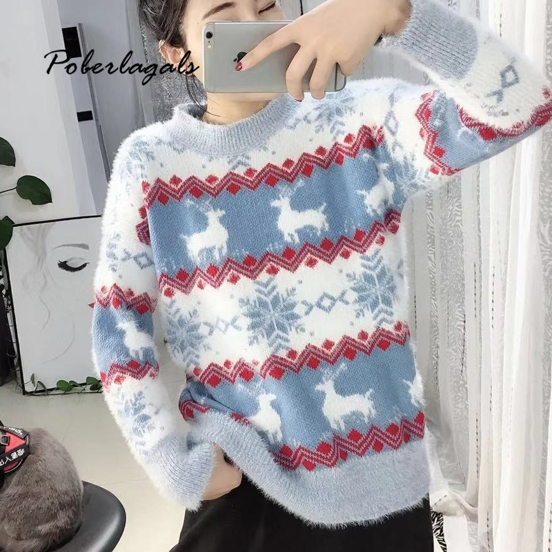Autumn Knited Christmas Sweaters Womens Pullover Winter 2019 Snowflake Fawn Soft Imitation Mink Sweaters Female Jumper Pullovers
