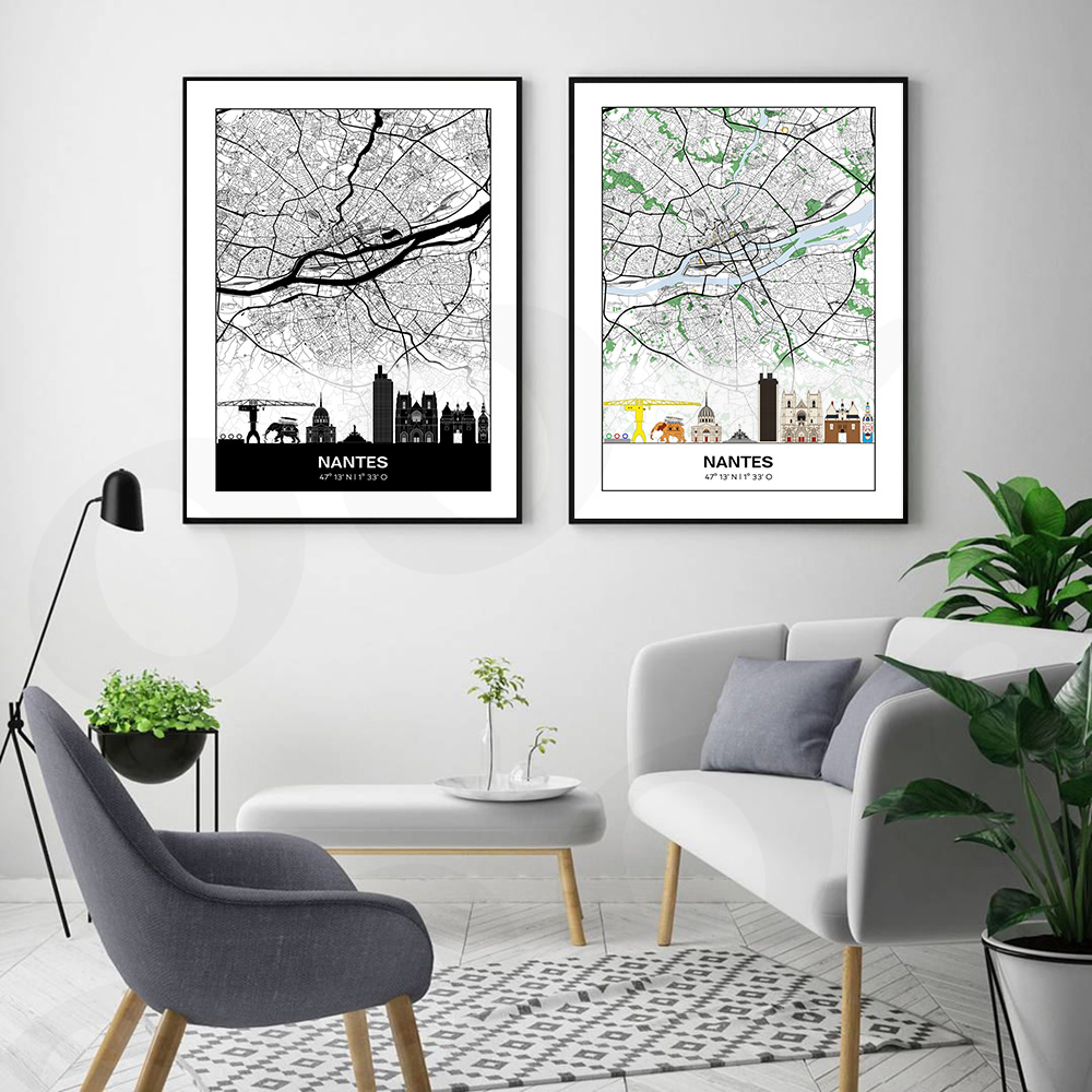 Black and White Nantes Map Wall Canvas Art Nordic Painting Poster and Print Scandinavian Wall Picture for Living Room