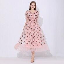 Sequins Strawberry Dress Women Elegant Long Dress V Neck Puff Sleeve Mesh Sexy Party Dresses Vintage Floral Dress Women Robe