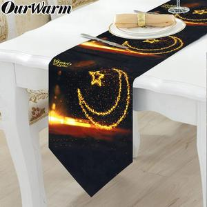 Image 1 - OurWarm Eid Mubarak Table Runner Ramadan Calendar Family Dinner Party Decoration Cloth Ramadan Mubarak Black Table Runner