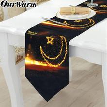 OurWarm camino de mesa Eid Mubarak, calendario de Ramadán, decoración de fiesta familiar, Ramadan Mubarak de tela, camino de mesa negro