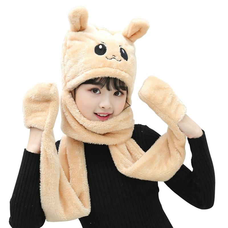 Children's Winter Hat Thick Warm Coral Velvet Hat+scarf+gloves 3-in-1 Kids Girl's Soft Cute Christmas Cartoon Animals Plush Cap